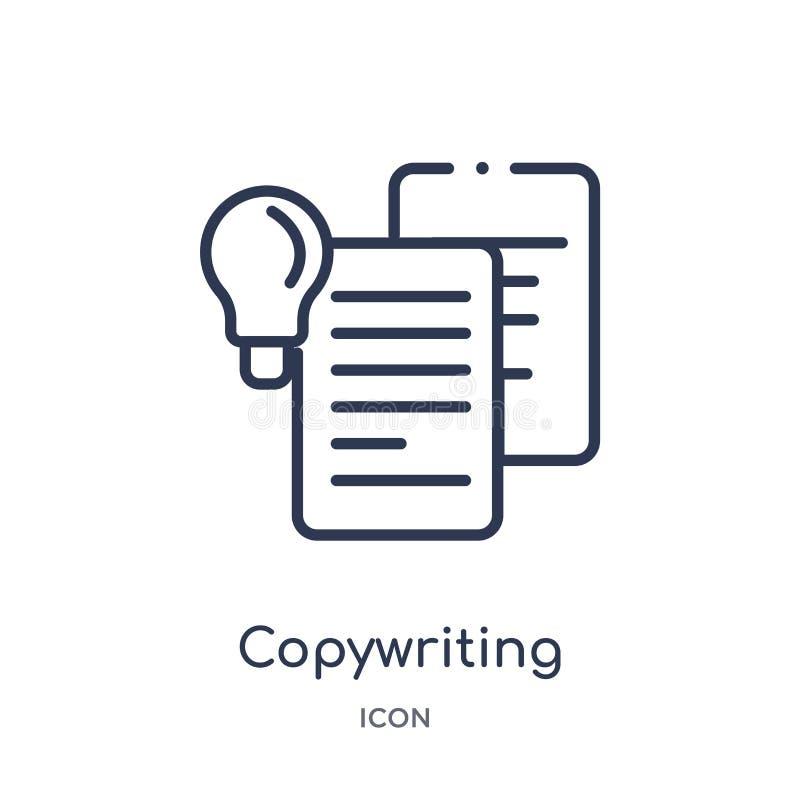 Linjär copywriting symbol från samling för allmän översikt Tunn linje copywriting symbol som isoleras på vit bakgrund Copywriting royaltyfri illustrationer