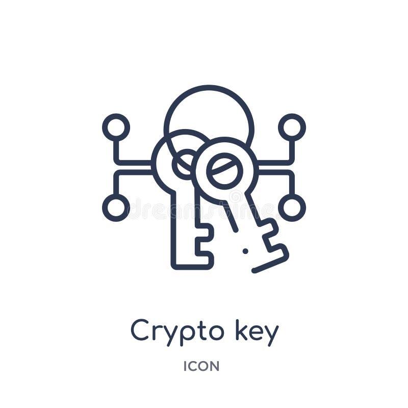Linjär crypto nyckel- symbol från Cryptocurrency ekonomi och finansöversiktssamling Tunn linje crypto nyckel- vektor som isoleras stock illustrationer