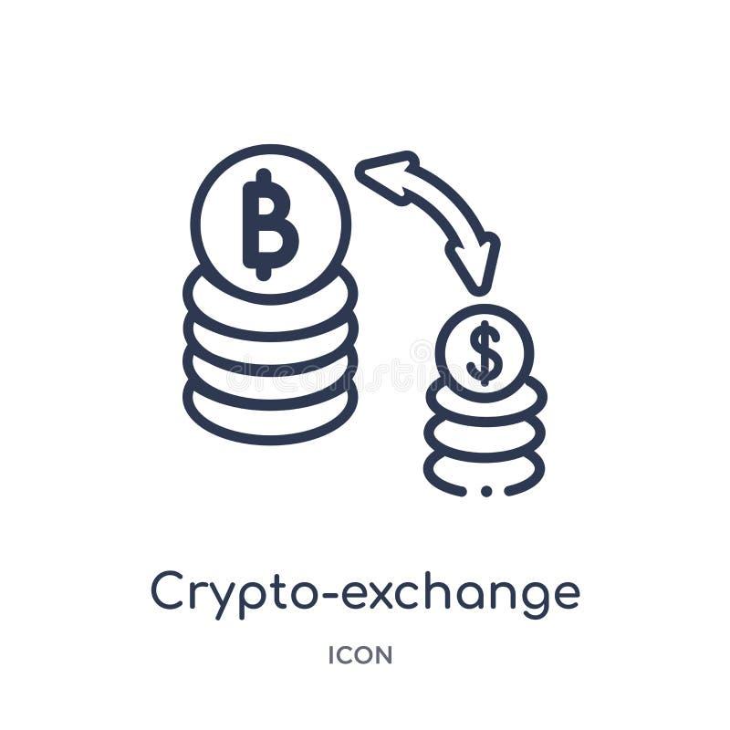 Linjär crypto-utbyte symbol från samling för allmän översikt Tunn linje crypto-utbyte symbol som isoleras på vit bakgrund crypto royaltyfri illustrationer