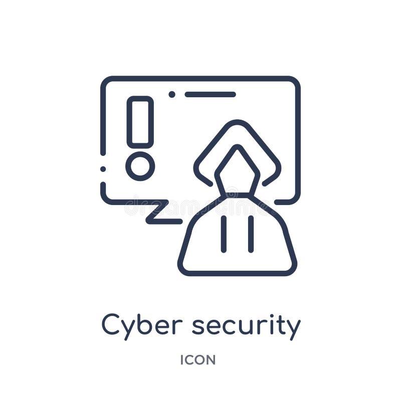 Linjär cybersäkerhetssymbol från säkerhet och att knyta kontakt för internet översiktssamlingen Tunn linje cybersäkerhetssymbol s royaltyfri illustrationer