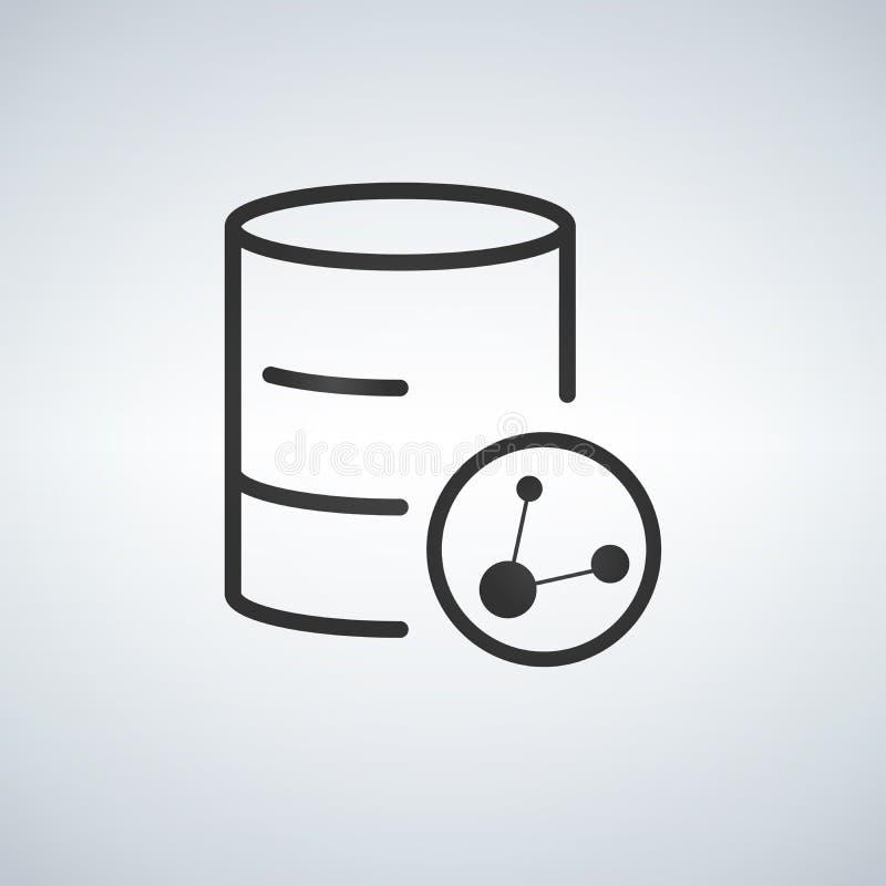 Linjär databas, server isolerade den mobila symbolen för den plana rengöringsduken med aktiesymbolen Vektorillustration som isole stock illustrationer