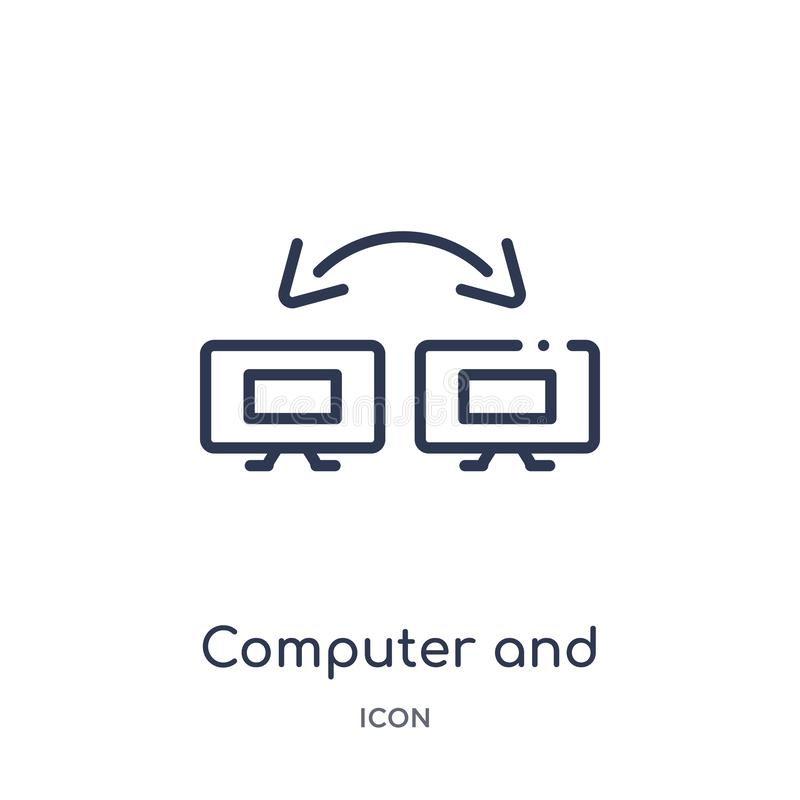 Linjär dator- och nätverkssymbol från utbildningsöversiktssamling Tunn linje dator och nätverksvektor som isoleras på vit royaltyfri illustrationer