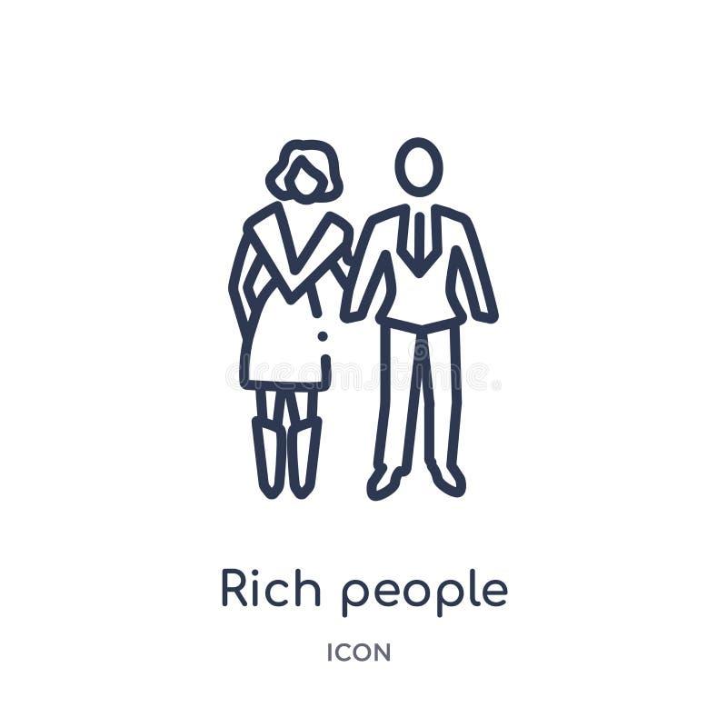 Linjär de rika symbol från lyxig översiktssamling Tunn linje de rika symbol som isoleras på vit bakgrund De rika royaltyfri illustrationer