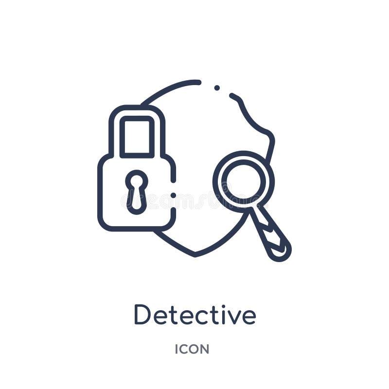 Linjär detektiv- symbol från Gdpr översiktssamling Tunn linje detektiv- symbol som isoleras på vit bakgrund detektiv- moderiktigt royaltyfri illustrationer