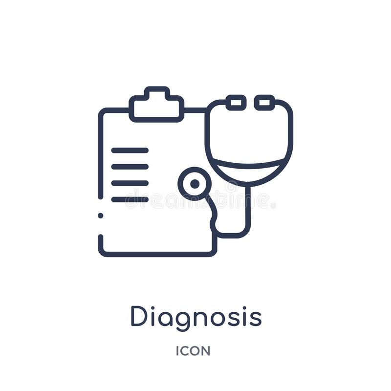 Linjär diagnossymbol från medicinsk översiktssamling Tunn linje diagnossymbol som isoleras på vit bakgrund moderiktig diagnos vektor illustrationer