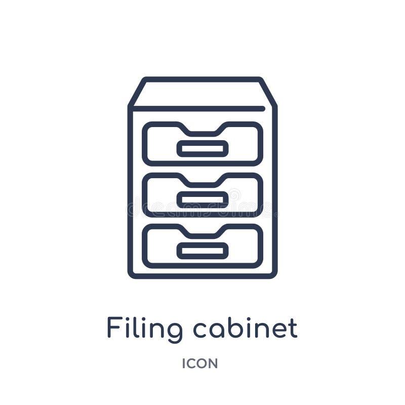 Linjär dokumentskåpsymbol från samling för allmän översikt Tunn linje dokumentskåpsymbol som isoleras på vit bakgrund arkivering royaltyfri illustrationer