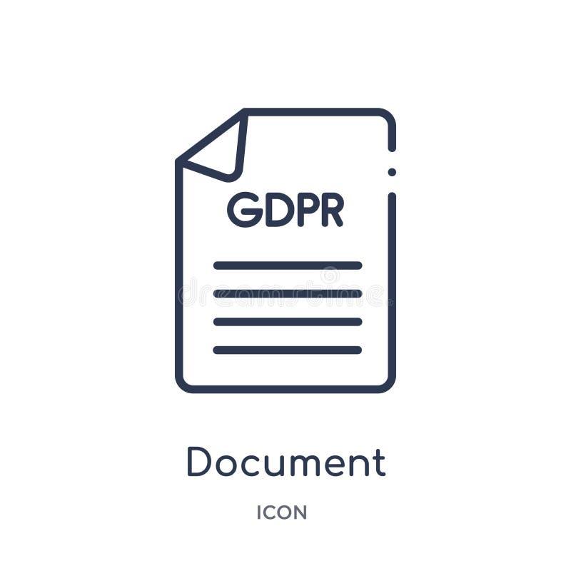 Linjär dokumentsymbol från Gdpr översiktssamling Tunn linje dokumentsymbol som isoleras på vit bakgrund moderiktigt dokument stock illustrationer