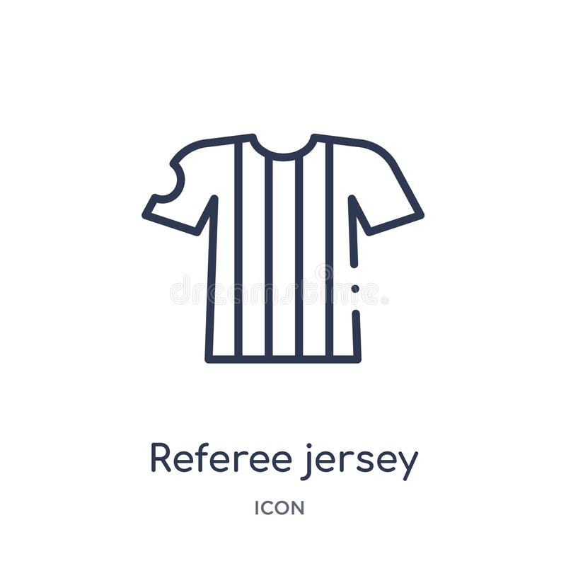 Linjär domareärmlös tröjasymbol från fotbollöversiktssamling Tunn linje domareärmlös tröjavektor som isoleras på vit bakgrund dom royaltyfri illustrationer