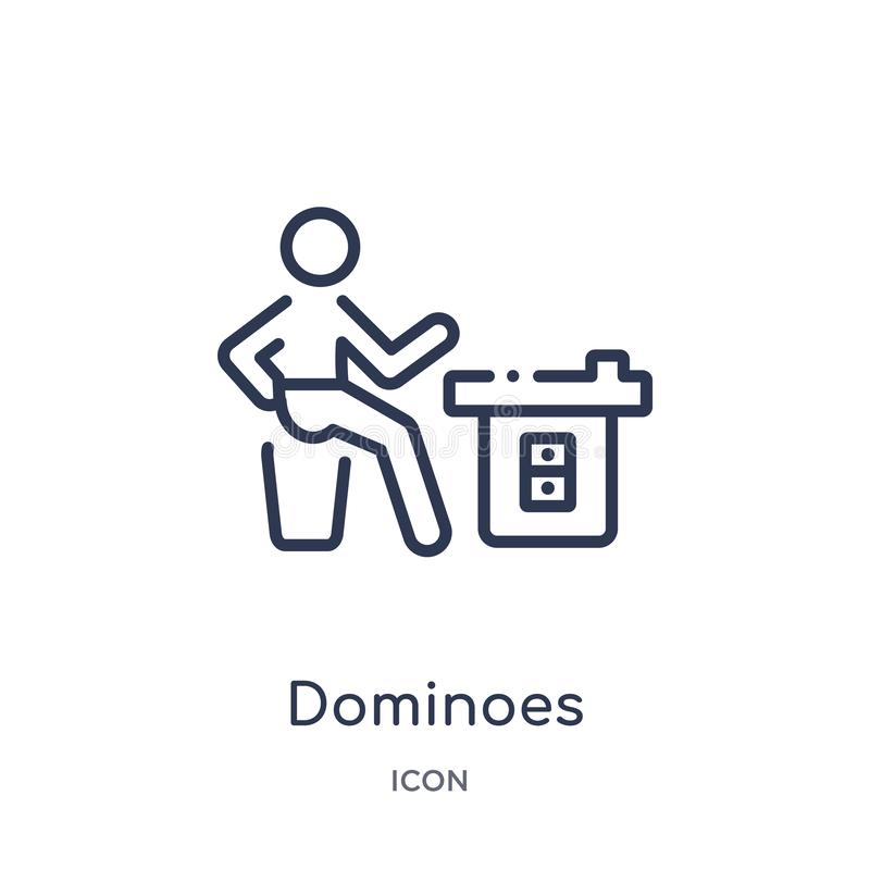 Linjär dominobrickasymbol från aktivitet och hobbyöversiktssamling Tunn linje dominobrickavektor som isoleras på vit bakgrund royaltyfri illustrationer