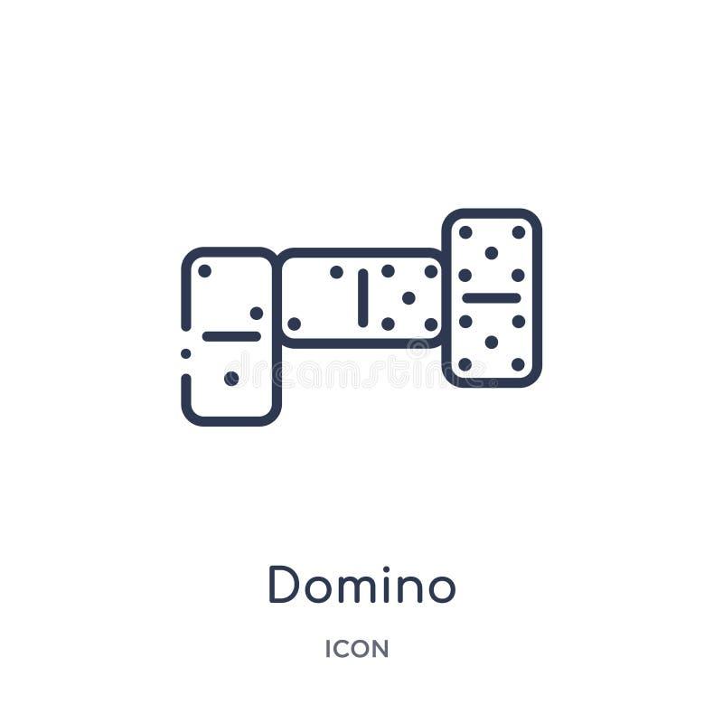 Linjär dominobrickasymbol från underhållning- och galleriöversiktssamling Tunn linje dominobrickavektor som isoleras på vit bakgr stock illustrationer