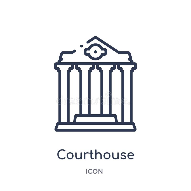 Linjär domstolsbyggnadsymbol från försäkringöversiktssamling Tunn linje domstolsbyggnadsymbol som isoleras på vit bakgrund domsto royaltyfri illustrationer