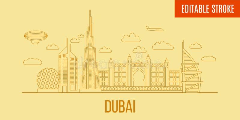 Linjär Dubai stadshorisont Vektorlinje konststil panorama- Dubai Byggnader som är customizible och avskiljs stock illustrationer