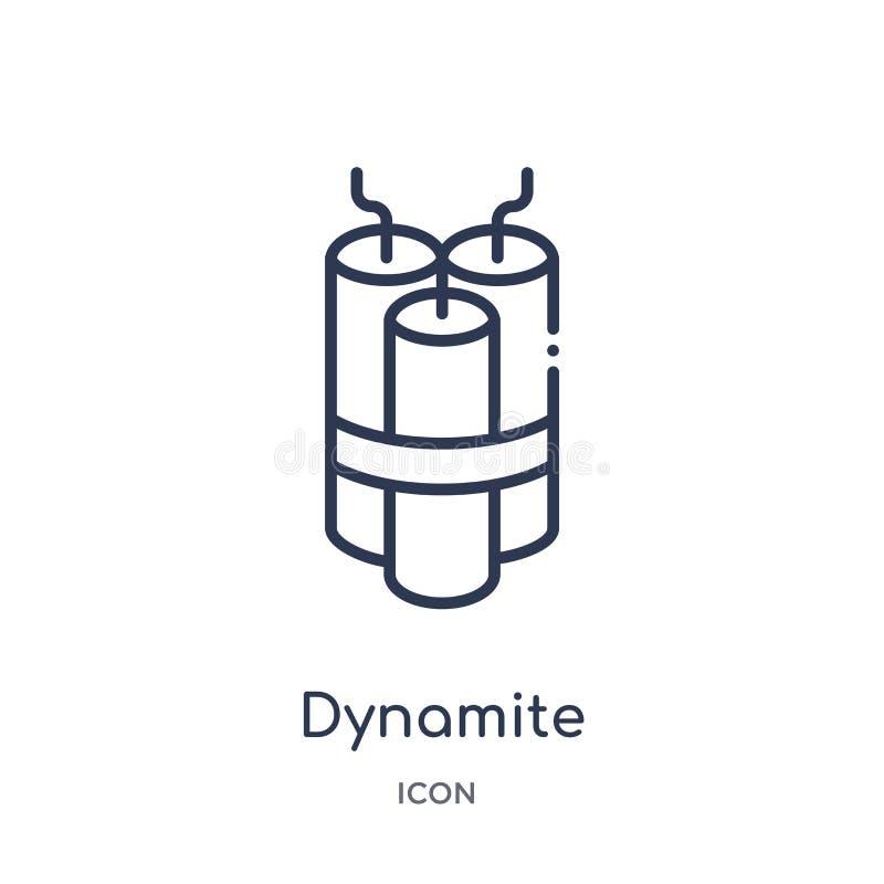 Linjär dynamitsymbol från armé- och krigöversiktssamling Tunn linje dynamitvektor som isoleras på vit bakgrund spränga med dynami stock illustrationer