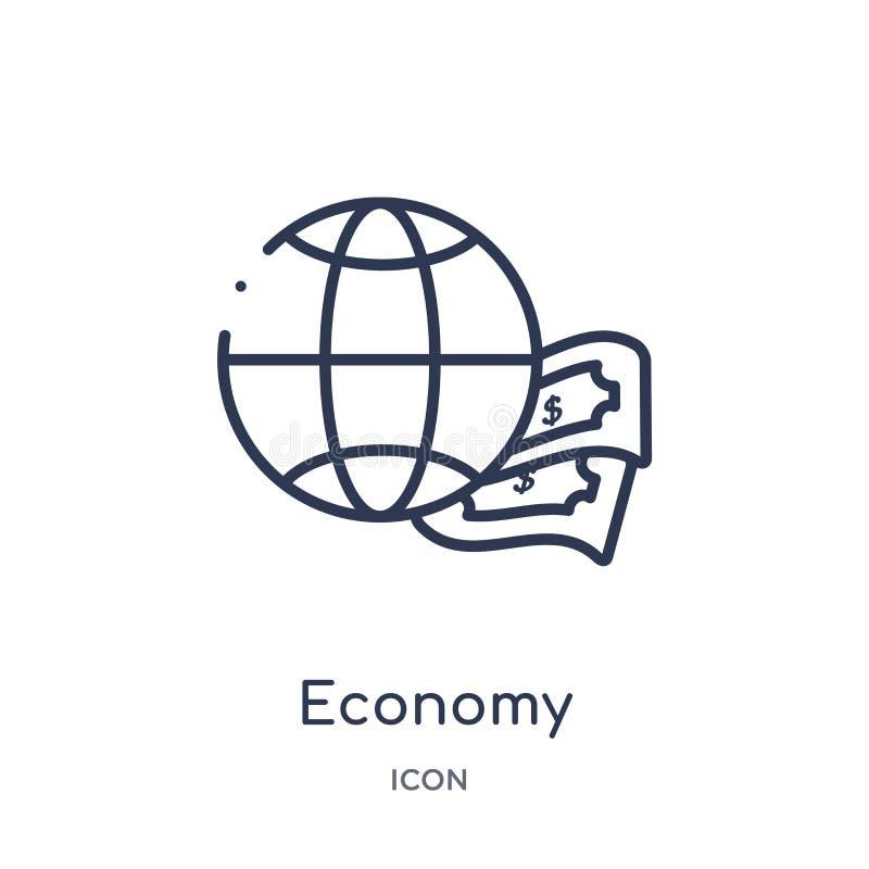 Linjär ekonomisymbol från samling för Digital ekonomiöversikt Tunn linje ekonomivektor som isoleras på vit bakgrund moderiktig ek royaltyfri illustrationer