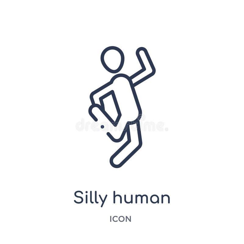 Linjär enfaldig mänsklig symbol från känslaöversiktssamling Tunn linje mänsklig vektor för dumbom som isoleras på vit bakgrund en royaltyfri illustrationer