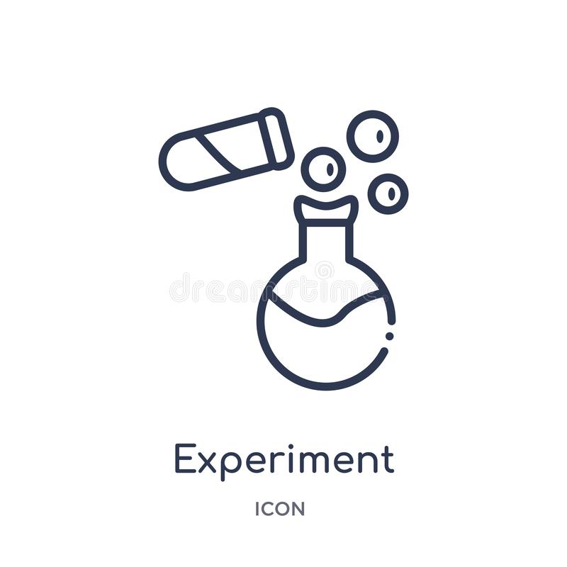 Linjär experimentsymbol från kemiöversiktssamling Tunn linje experimentvektor som isoleras på vit bakgrund experiment stock illustrationer