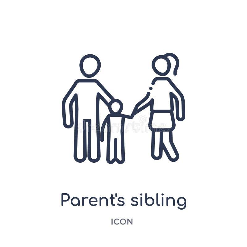 Linjär förälders siblingsymbol från samling för översikt för familjförbindelse Tunn siblingvektor för linje som förälder isoleras stock illustrationer
