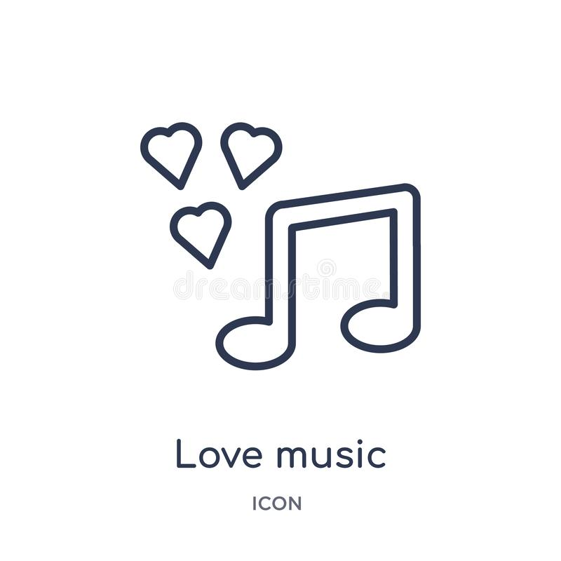 Linjär förälskelsemusiksymbol från samling för översikt för födelsedagparti Tunn linje förälskelsemusikvektor som isoleras på vit royaltyfri illustrationer