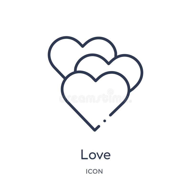 Linjär förälskelsesymbol från utbildningsöversiktssamling Tunn linje förälskelsevektor som isoleras på vit bakgrund moderiktig il vektor illustrationer
