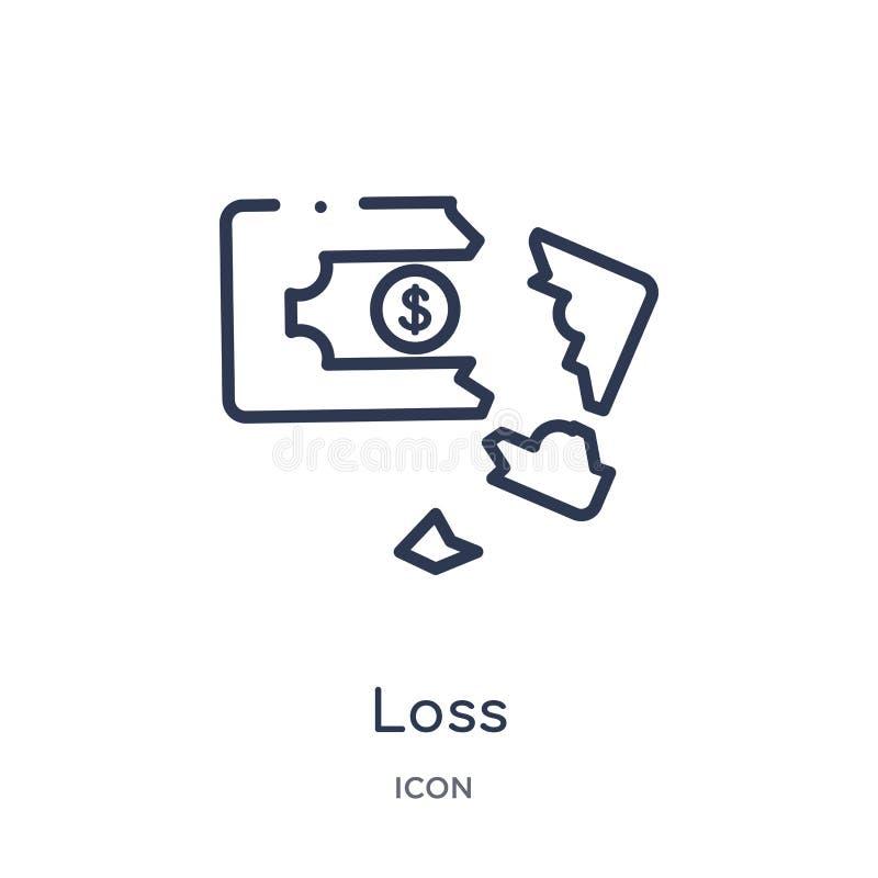 Linjär förlustsymbol från samling för Digital ekonomiöversikt Tunn linje förlustvektor som isoleras på vit bakgrund moderiktig fö stock illustrationer