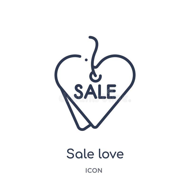 Linjär försäljningsförälskelsesymbol från kommersöversiktssamling Tunn linje försäljningsförälskelsesymbol som isoleras på vit ba stock illustrationer