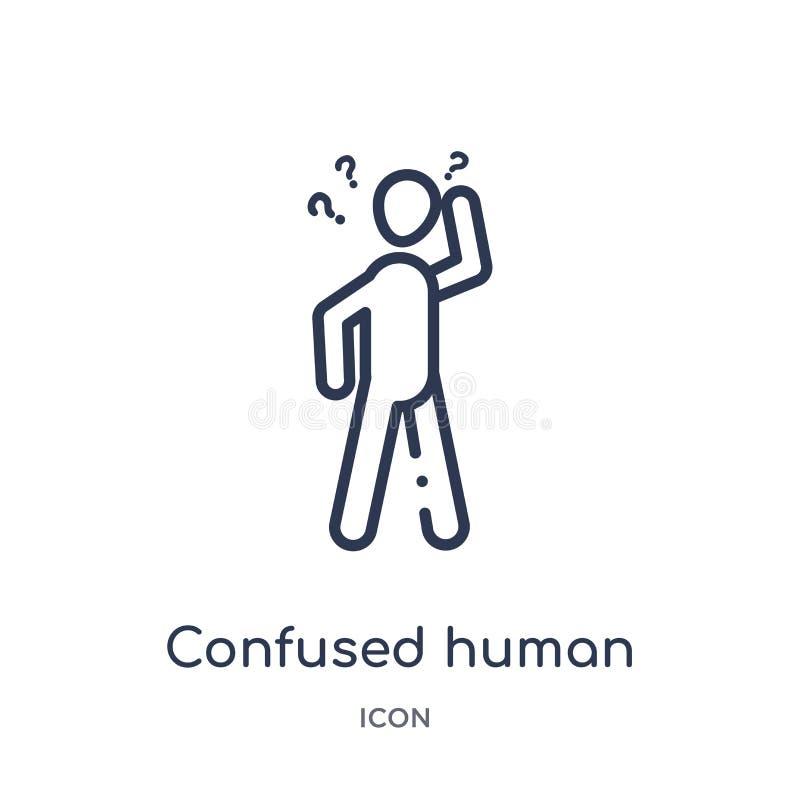 Linjär förvirrad mänsklig symbol från känslaöversiktssamling Den tunna linjen förväxlade den mänskliga vektorn som isolerades på  vektor illustrationer