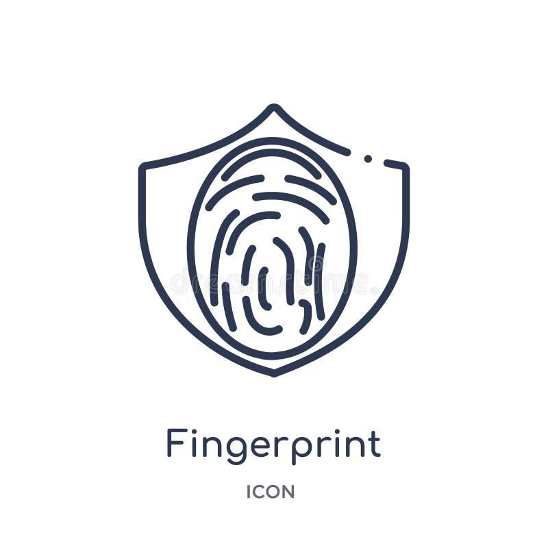 Linjär fingeravtrycksymbol från Gdpr översiktssamling Tunn linje fingeravtrycksymbol som isoleras på vit bakgrund moderiktigt fin stock illustrationer