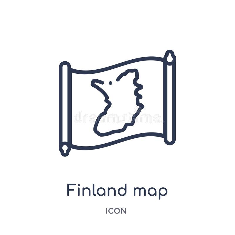 Linjär Finland översiktssymbol från Countrymaps översiktssamling Tunn linje Finland översiktsvektor som isoleras på vit bakgrund  royaltyfri illustrationer
