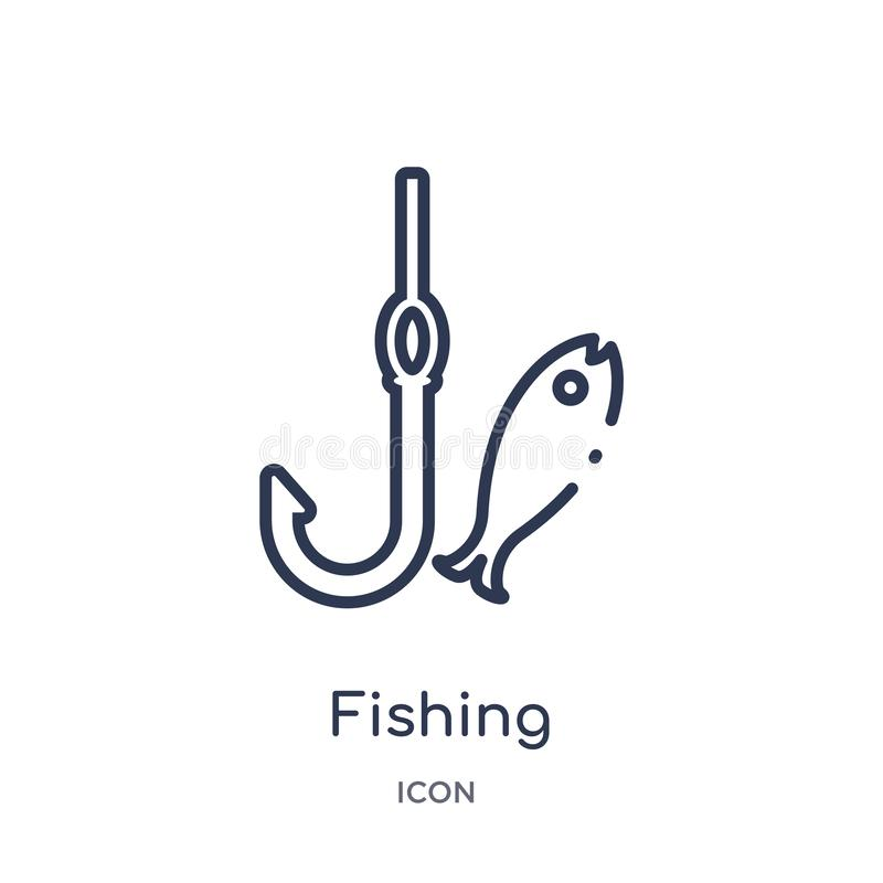 Linjär fiska symbol från campa översiktssamling Tunn linje som fiskar vektorn som isoleras på vit bakgrund fiska som är moderikti stock illustrationer