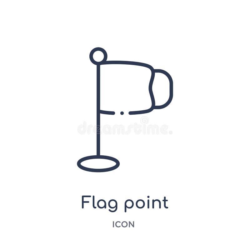 Linjär flaggapunktsymbol från utbildningsöversiktssamling Tunn linje flaggapunktvektor som isoleras på vit bakgrund flaggapunkt royaltyfri illustrationer