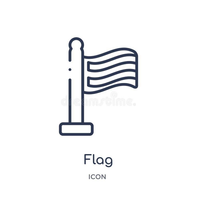 Linjär flaggasymbol från översikts- och flaggaöversiktssamling Tunn linje flaggasymbol som isoleras på vit bakgrund moderiktig fl royaltyfri illustrationer