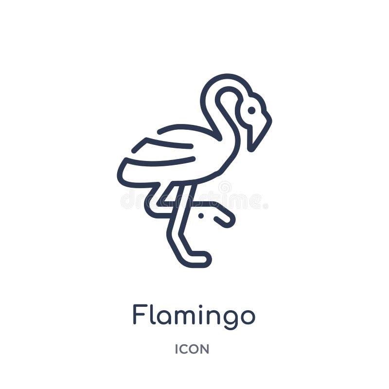 Linjär flamingosymbol från djuröversiktssamling Tunn linje flamingosymbol som isoleras på vit bakgrund moderiktig flamingo stock illustrationer