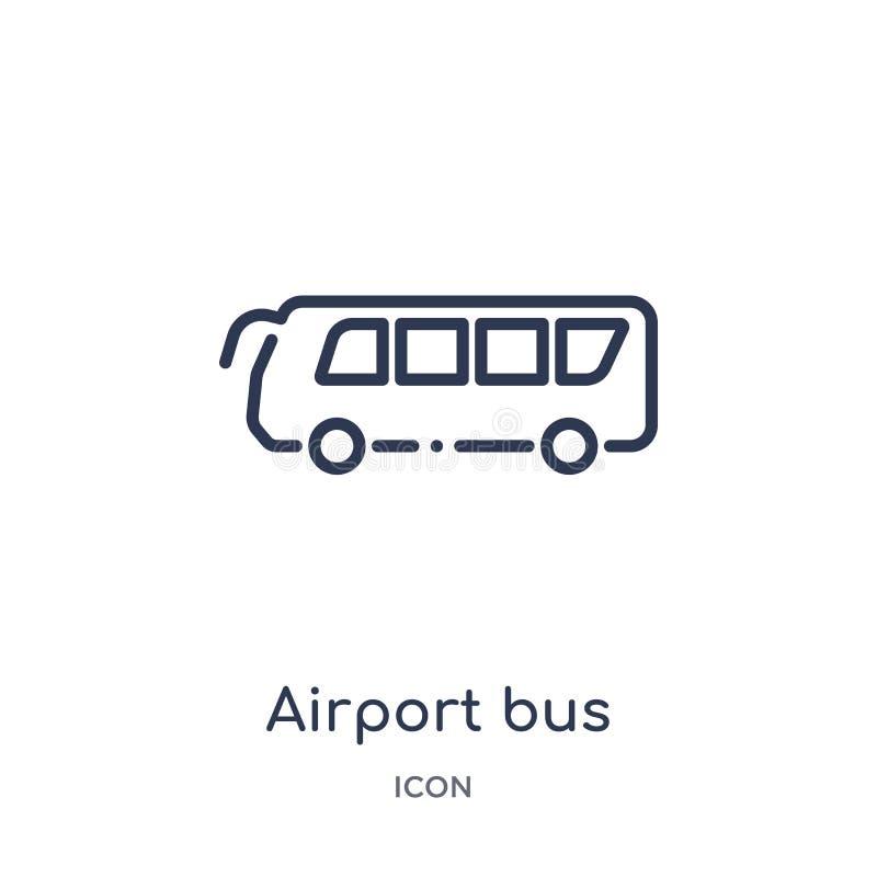 Linjär flygplatsbusssymbol från samling för översikt för flygplatsterminal Tunn linje flygplatsbussvektor som isoleras på vit bak vektor illustrationer