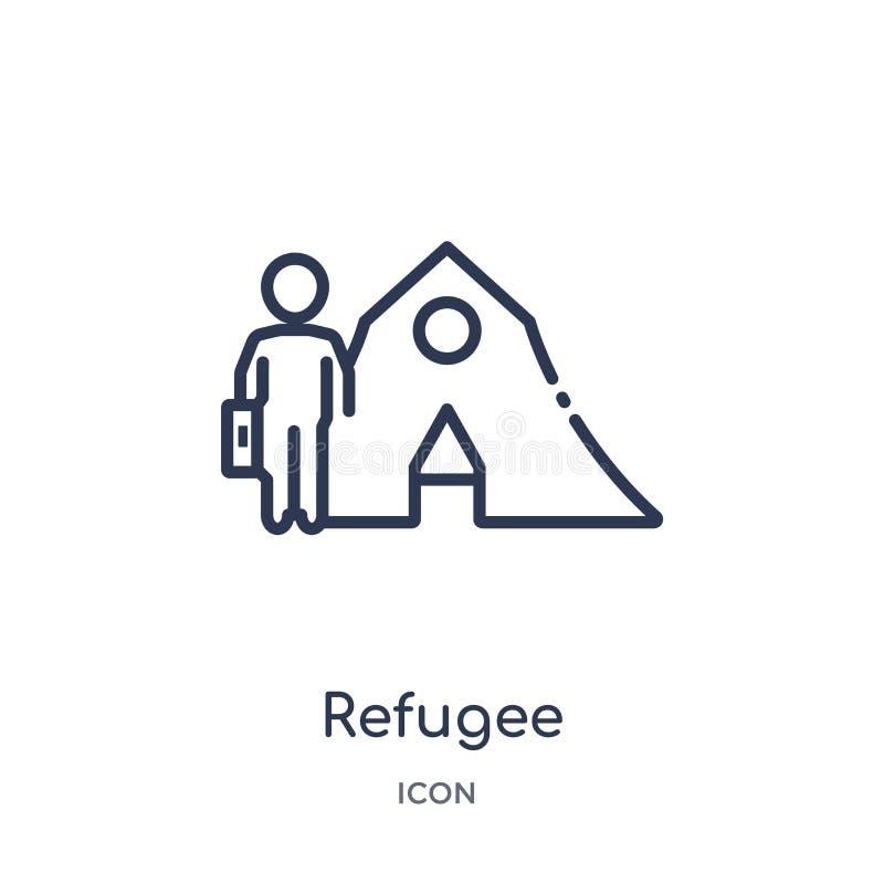 Linjär flyktingsymbol från diverse översiktssamling Tunn linje flyktingsymbol som isoleras på vit bakgrund moderiktig flykting stock illustrationer