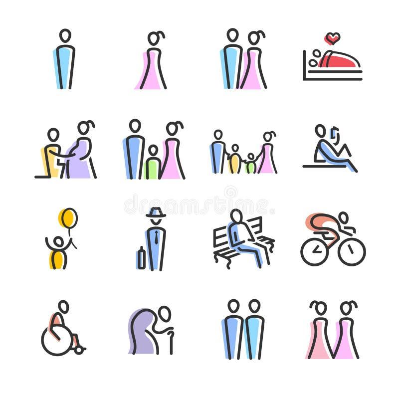 Linjär folkfärg stock illustrationer
