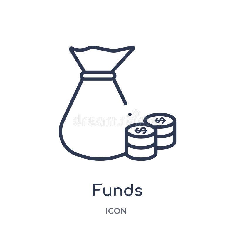 Linjär fondsymbol från Cryptocurrency ekonomi och finansöversiktssamling Tunn linje fondvektor som isoleras på vit bakgrund vektor illustrationer