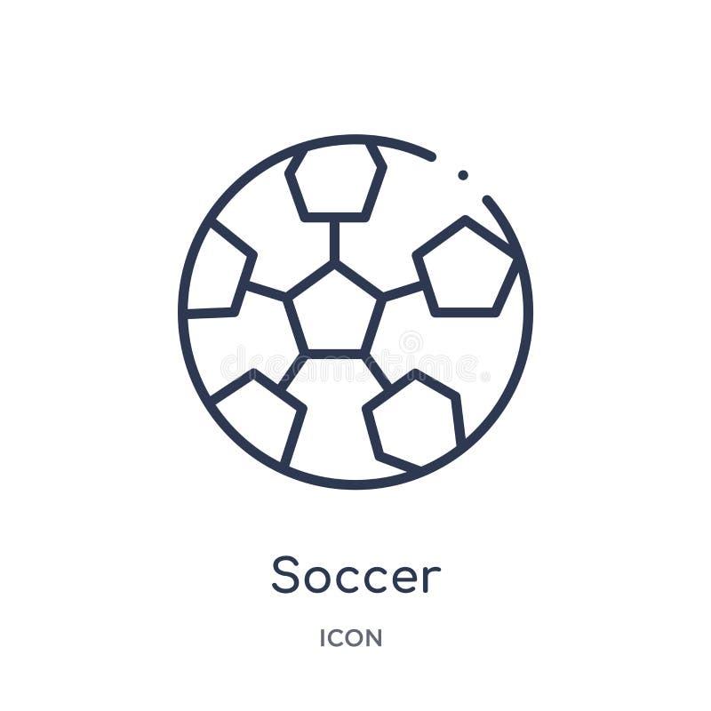 Linjär fotbollsymbol från utbildningsöversiktssamling Tunn linje fotbollvektor som isoleras på vit bakgrund moderiktig fotboll stock illustrationer