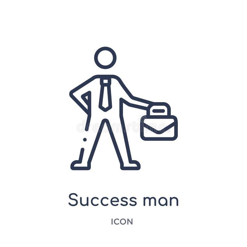 Linjär framgångman med resväskasymbolen från affärsöversiktssamling Tunn linje framgångman med resväskasymbolen som isoleras på v vektor illustrationer
