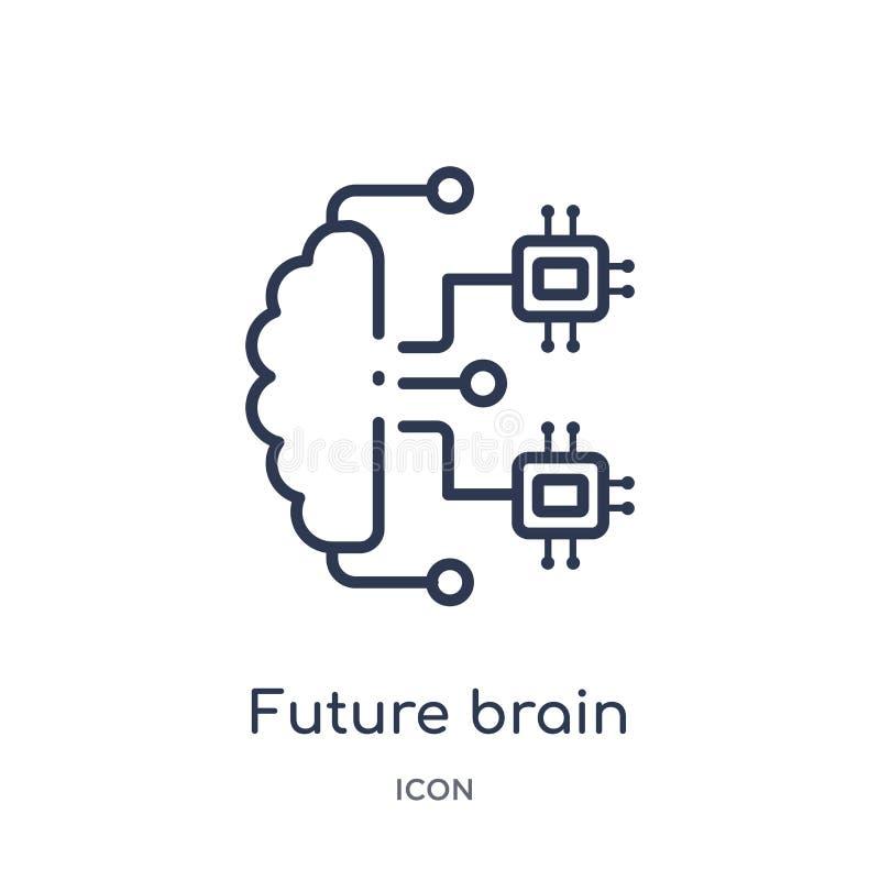 Linjär framtida hjärnsymbol från konstgjord intellegence och den framtida teknologiöversiktssamlingen Tunn linje framtida hjärnve vektor illustrationer