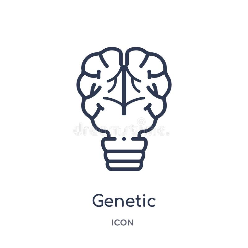Linjär genetisk ändringssymbol från konstgjord intellegence och den framtida teknologiöversiktssamlingen Genetisk tunn linje stock illustrationer