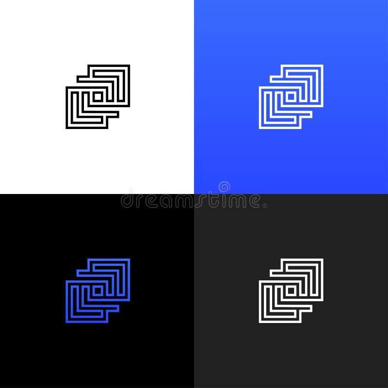 Linjär geometrisk fyrkantig logo Linjär geometrisk fyrkantig logo royaltyfri illustrationer
