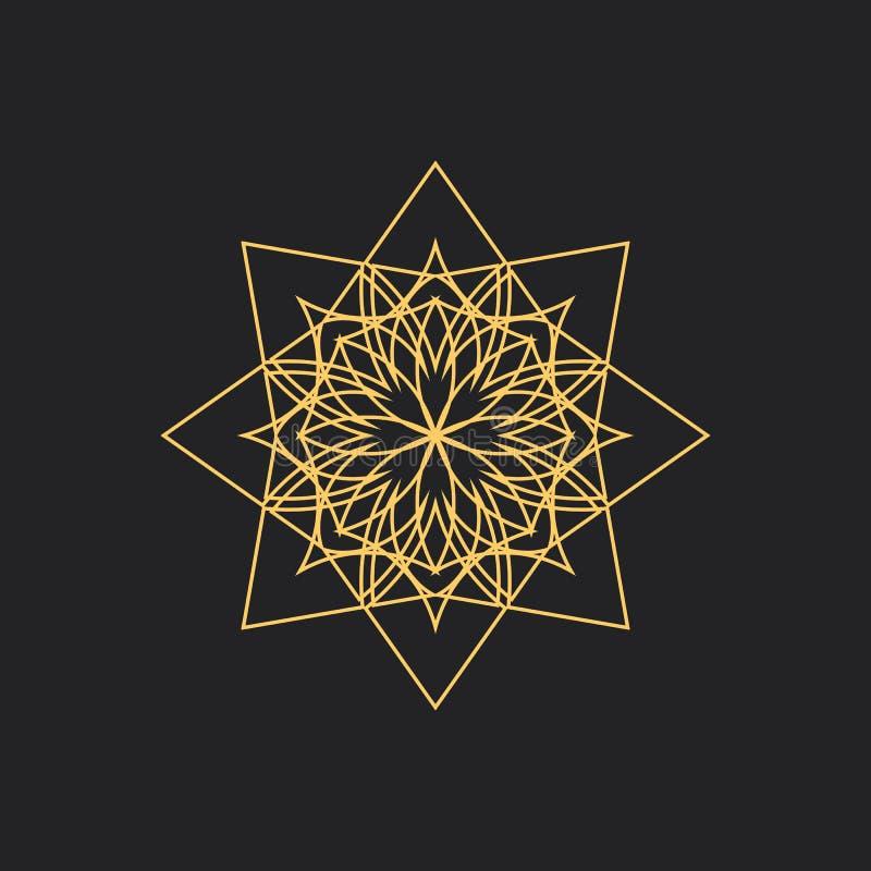 Linjär geometrisk prydnad på svart bakgrund royaltyfri illustrationer