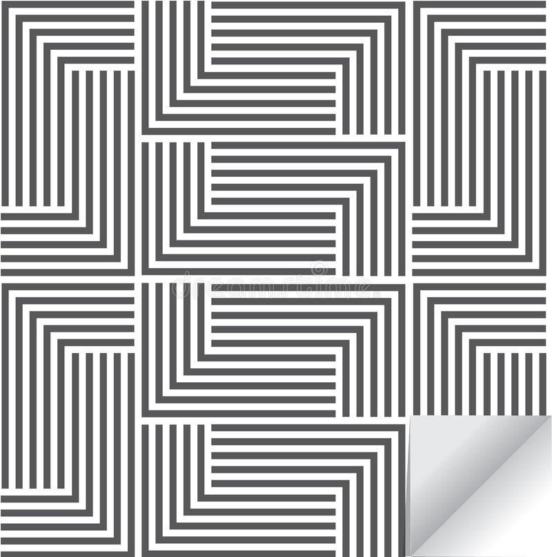 Linjär geometrisk vektormodell och att upprepa bandlinjen och mosaiken av fodrade fyrkanter Stilfull monokrom stock illustrationer