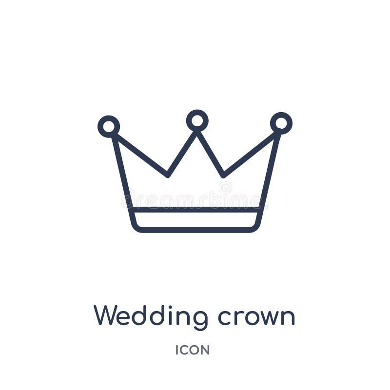 Linjär gifta sig kronasymbol från samling för översikt för födelsedagparti Tunn linje bröllopkronavektor som isoleras på vit bakg stock illustrationer