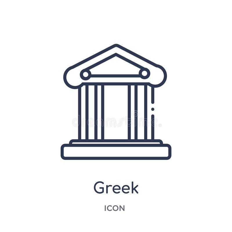 Linjär grekisk symbol från historieöversiktssamling Tunn linje grekisk symbol som isoleras på vit bakgrund grekisk moderiktig ill royaltyfri illustrationer