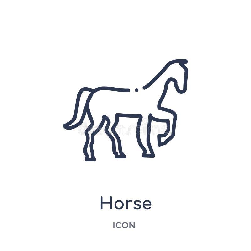 Linjär hästsymbol från ökenöversiktssamling Tunn linje hästvektor som isoleras på vit bakgrund moderiktig illustration för häst stock illustrationer