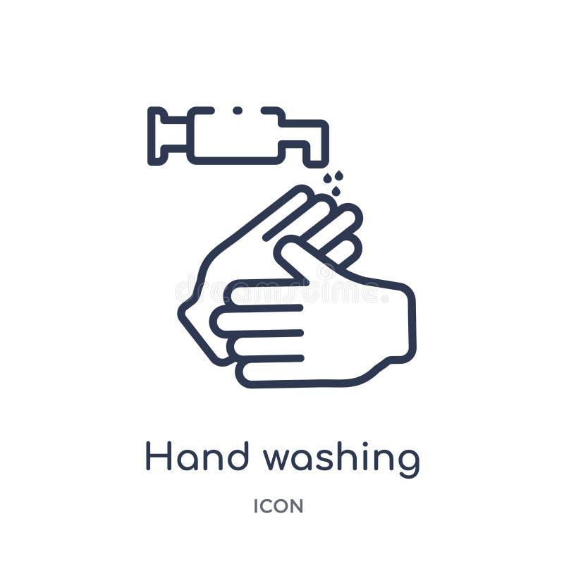 Linjär handtvagningsymbol från rengörande översiktssamling Tunn linje handtvagningvektor som isoleras på vit bakgrund Hand royaltyfri illustrationer
