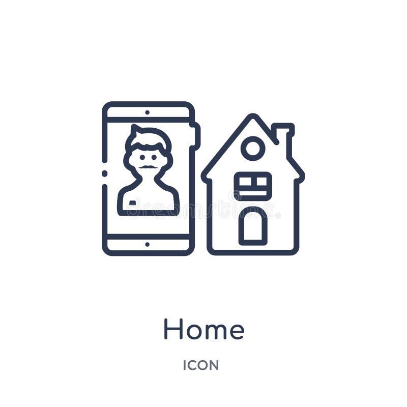Linjär hem- symbol från blogger- och influenceröversiktssamling Tunn linje hemvektor som isoleras på vit bakgrund hem moderiktigt royaltyfri illustrationer