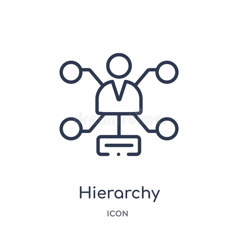 Linjär hierarkisymbol från affärs- och analyticsöversiktssamling Tunn linje hierarkivektor som isoleras på vit bakgrund royaltyfri illustrationer