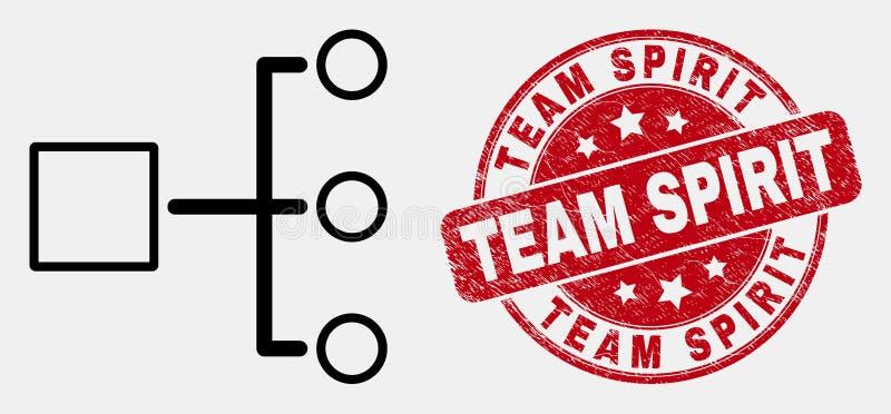 Linjär hierarkisymbol och Grunge Team Spirit Seal för vektor vektor illustrationer